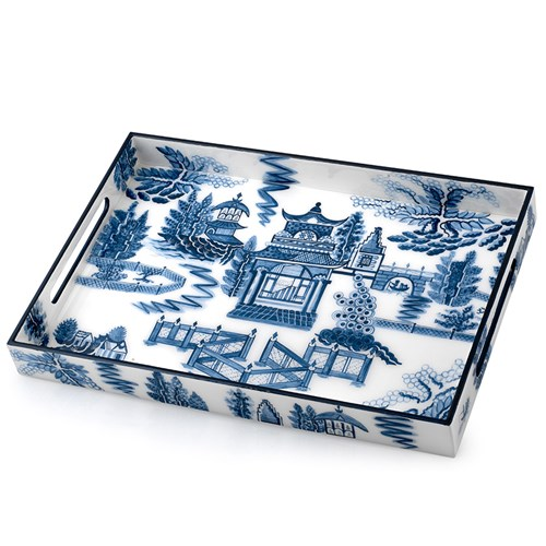 Blue Chinoiserie Rectangular Lacquered Tray