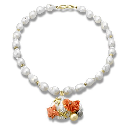 18k Gold Baroque Pearl Necklace with Shell Pendant Pin