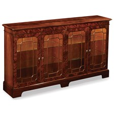 Mahogany Display Cabinet with Touch Dimmer Lighting