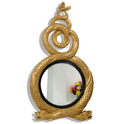 Antique Gold Entwined Dolphins Convex Mirror Mirrors