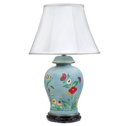 Light Blue Lamp with Poppies