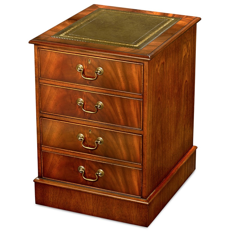 Mahogany File Cabinet With Green Leather Top Hover To Zoom