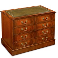 Mahogany Double File Cabinet With Green Leather Top