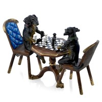 Austrian Bronze Dachshunds Playing Chess Figurine
