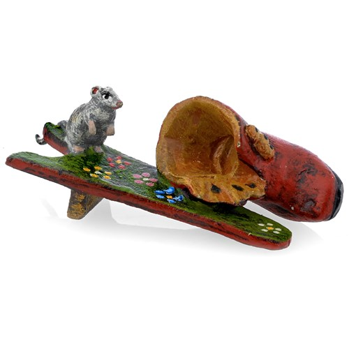 Austrian Bronze Mouse on a Bootjack Figurine