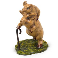 Austrian Bronze Pig on Pig Figurine