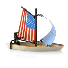 Austrian Bronze Dachshund in American Flag Sailboat Figurine