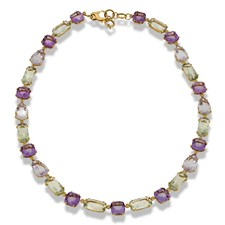 18k Yellow Gold Amethyst & Prasiolite Necklace