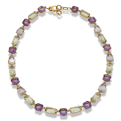18k Yellow Gold Necklace with Amethyst and Praziolite