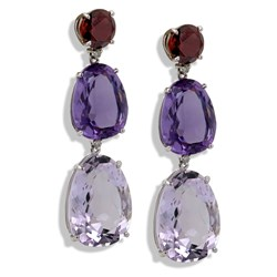 18k White Gold Tri-Drop Earrings with Amethyst