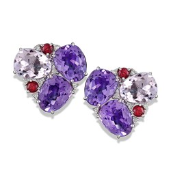 18k White Gold Amethyst Clusters