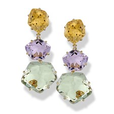 18k Yellow Gold Drop Earrings with Amethyst, Citrine & Praziolite