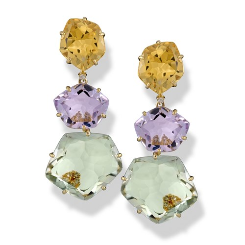 18k Yellow Gold Drop Earrings with Amethyst, Citrine & Prasiolite