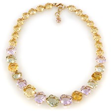 18k Yellow Gold Citrine, Amethyst & Prasiolite Happy Necklace
