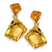 diamond yellow earrings gold y citrine