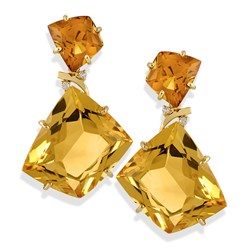 Quadrilateral Citrine Drop Earrings