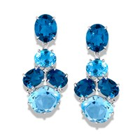 "18k White Gold Blue Topaz ""Stacking Drop"" Earrings"