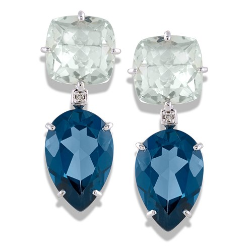 18k White Gold London Blue Topaz and Prasiolite Drop Earrings