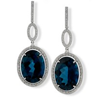 18k White Gold Drop Earrings with Diamond & London Blue Topaz