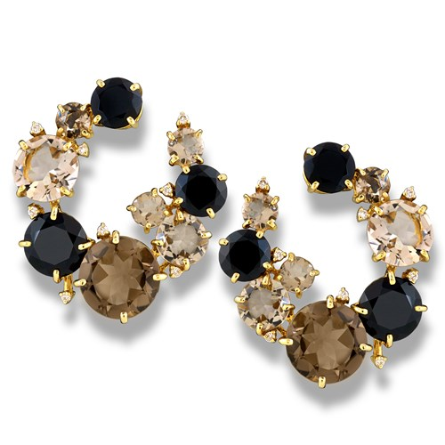 18k Yellow Gold Wreath Earrings with Black & Smoky Quartz