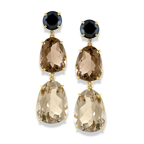 "18k Gold ""Quartz Trio"" Drop Earrings"