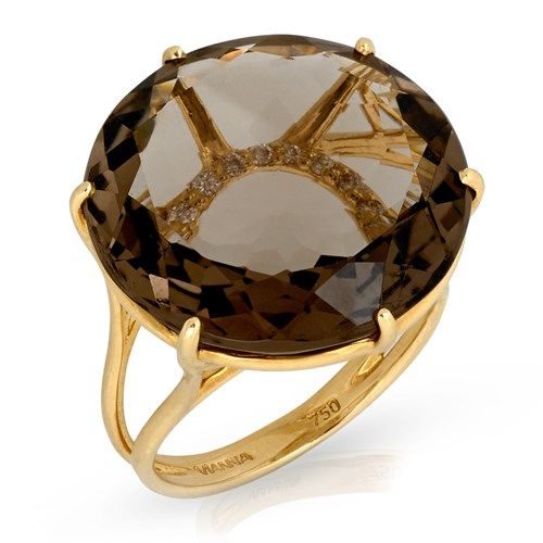 18k Yellow Gold Smoky Quartz Ring