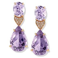 18k Rose Gold Pink Amethyst Drop Earrings