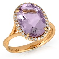 18k Rose Gold Ring with Pink Amethyst & Diamonds