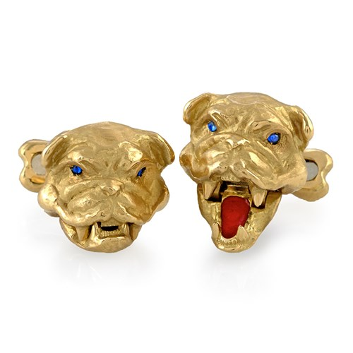 18k Gold Bulldog Cufflinks with Red Tongue
