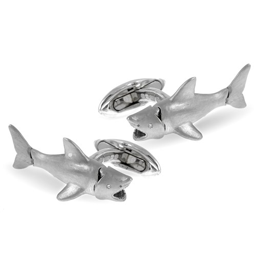 18k White Gold Shark Cufflinks