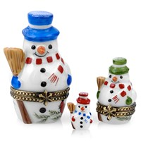 Nesting Snowmen Limoges Box, Set of Three