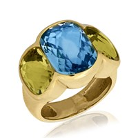 18K Yellow Gold Ring with Blue Topaz Center & Citrine Sides