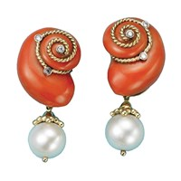 18k Gold Salmon Coral, Pearl, and Diamond Earrings