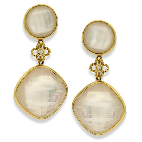 18k Yellow Gold Faceted Crystal Earrings with MOP Twilight Drops