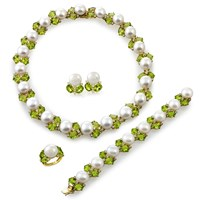 Cultured Pearls, Peridot and Diamonds