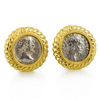 Ancient Roman Silver Coin Earrings