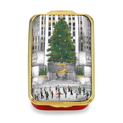 Halcyon Days Christmas in New York Enamel Box, Skating