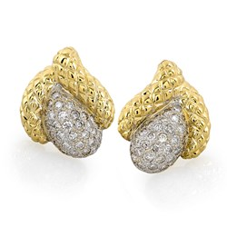 Gold & Diamond Quilted Calla Lily Earrings