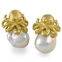 18K Gold Baroque Pearl Octopus Earrings