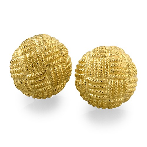 18K Gold Basketweave Button Earrings