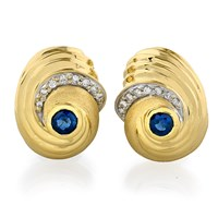 Sapphire and Diamond Swirl Earrings