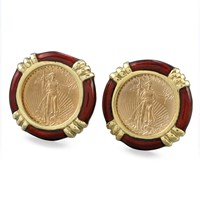 Liberty Coins in Burgundy Enamel Earrings