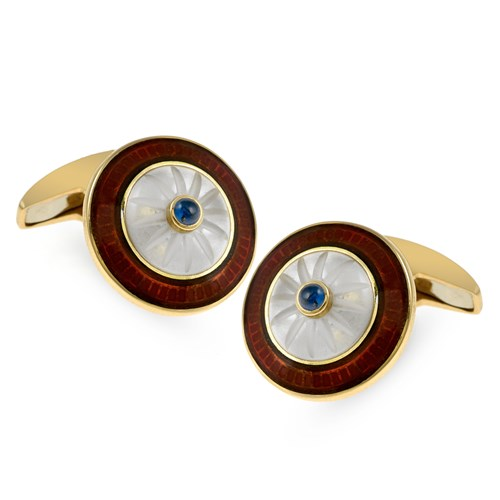 18k Gold Red Enamel Round Cufflinks