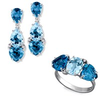 "18k White Gold ""Triple Blue Topaz"" Jewelry"