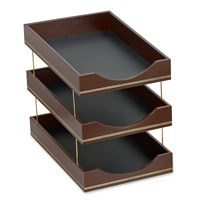 Double Line Leather Triple Legal Tray