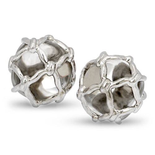 18K White Gold Rock Crystal Net Covered Earrings with Clips