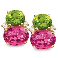 Pink Topaz and Peridot Fruit Gem Earrings