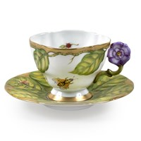 Anna Weatherley Flower Handle Cup & Saucer, Violet