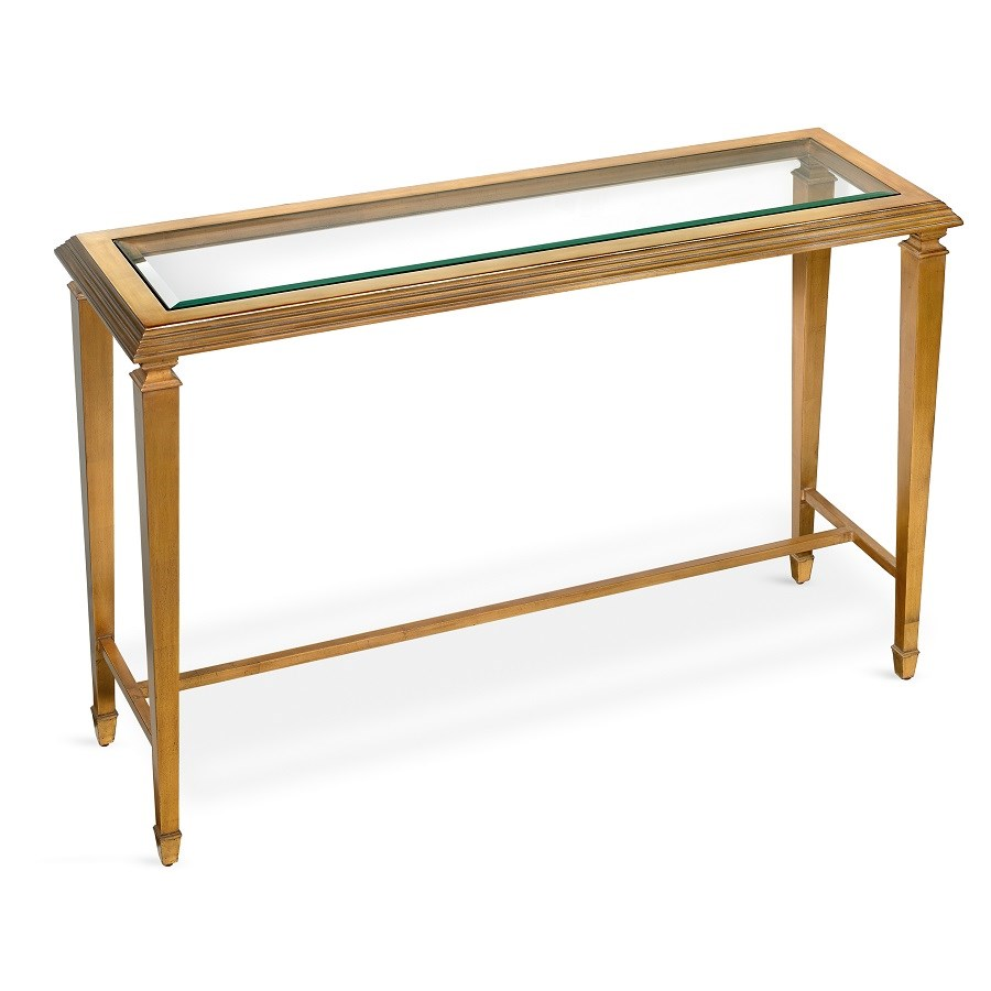 Antique Gold Leaf Console Table With Glass Top Console