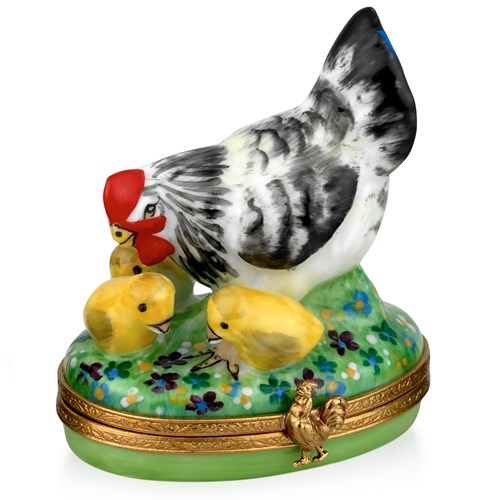 Hen with Three Chicks Limoges Box